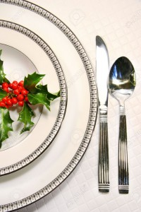2584667-Silver-plate-setting-with-a-sprig-of-holly--Stock-Photo-christmas-setting-table