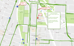 Map shows bike lanes around site as well as train stations