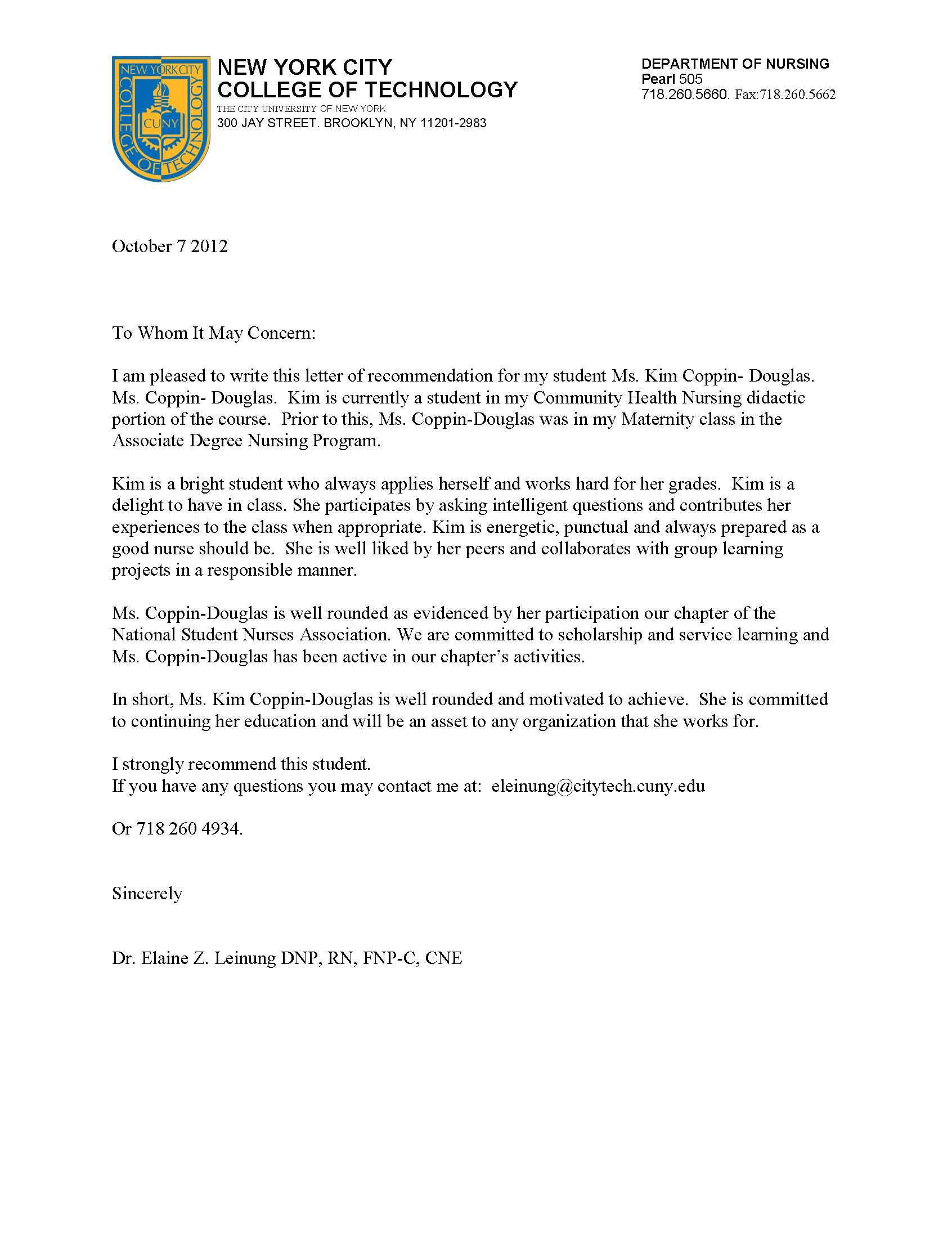 Letter Of Recommendation For Student With Mental Issues
