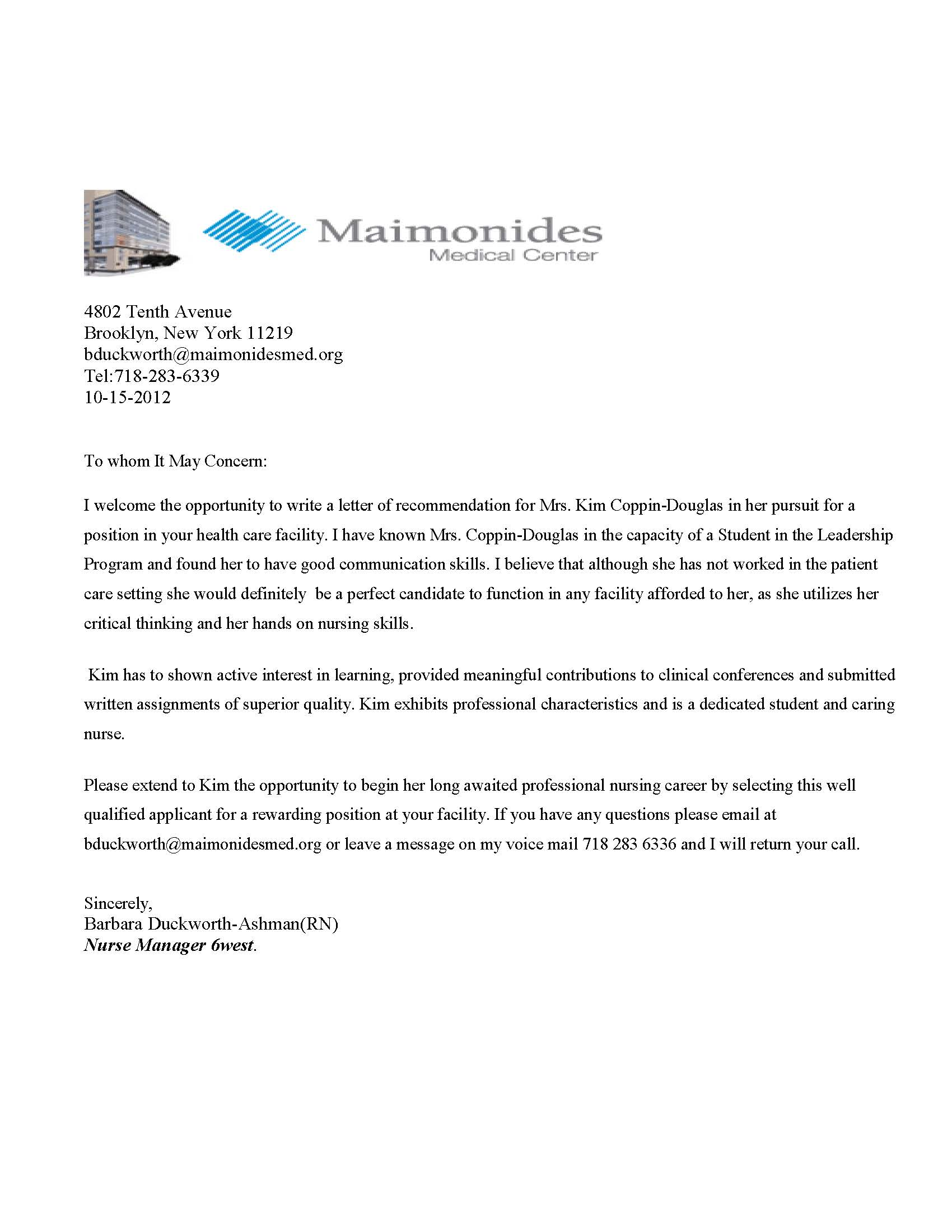 cover letter for shadowing a doctor - maimonides medical center kim coppin douglas 39 s eportfolio