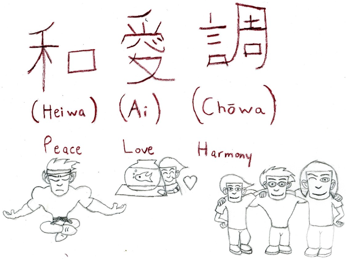 """To answer the question, """"How should one design?"""" one should design something they love doing and something people would be able to understand. This design I created is a visual-linguistic example that was shown in class last week. The Japanese symbols mean Peace Love and Harmony. I even drew characters from my career project to give you a visual understanding if you don't know what those words mean."""