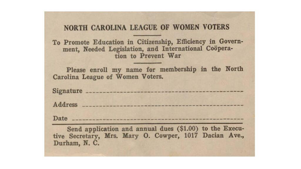 North Carolina League of Women Voters card, 1920; via Wikimedia Commons