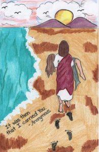 Jesus carrying a weak traveler