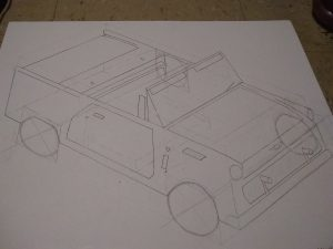 Isometric drawing of car