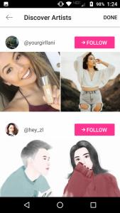 Discover Artist screen in PicsArt