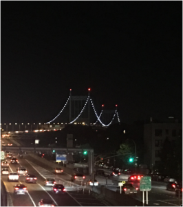 Lights create parabolas shapes