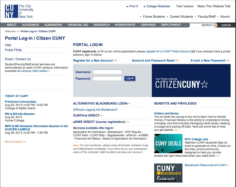 cuny portal log in screen