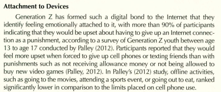 "Screen shot from ""Generation Z: Technology and Social Interest"" -- How both participation and attention in social media has led to the attachment of devices."