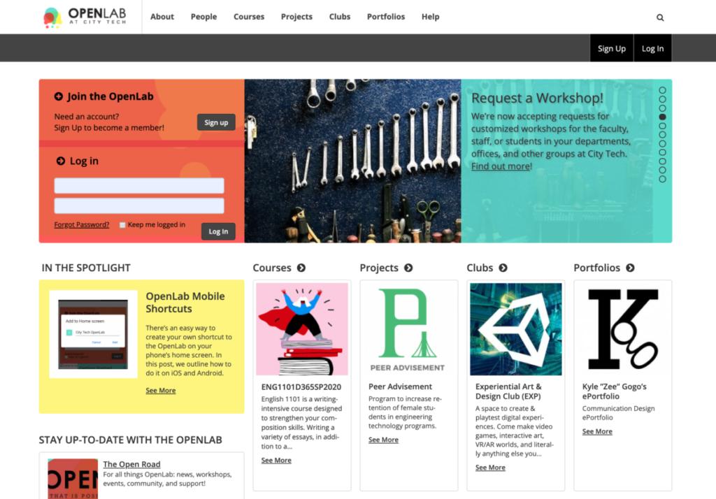 Screenshot of the OpenLab homepage.