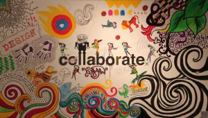 collage of doodles with 'collaborate' written in the middle.