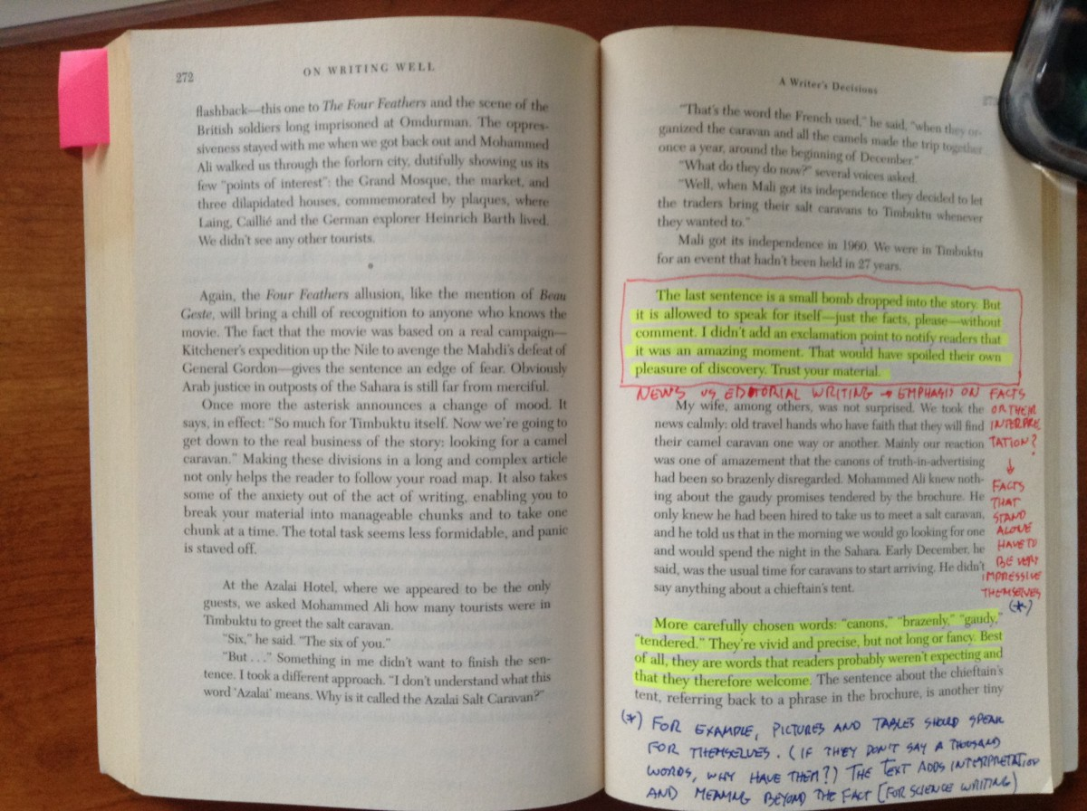 An open book with highlights and annotations.
