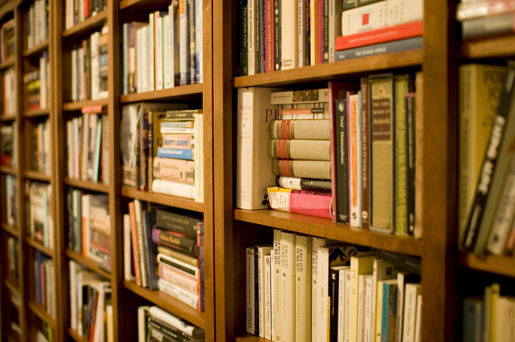 A close-up of books on a series of bookshelves.