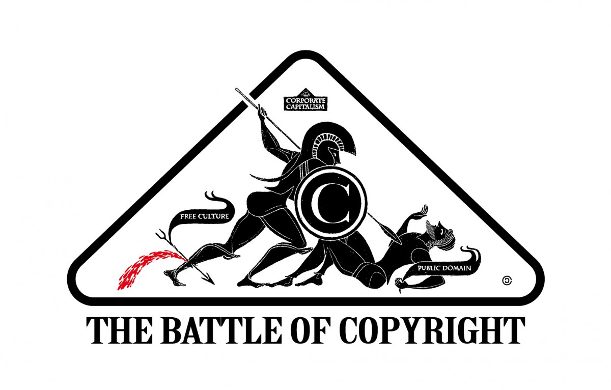 A Greek-inspired battle scene between 'corporate capitalism' and the 'public domain' and 'free culture' with the text, The Battle of Copyright underneath.