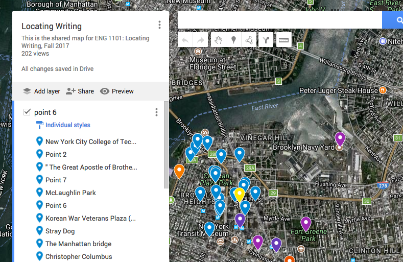 A annotated google map of downtown Brooklyn