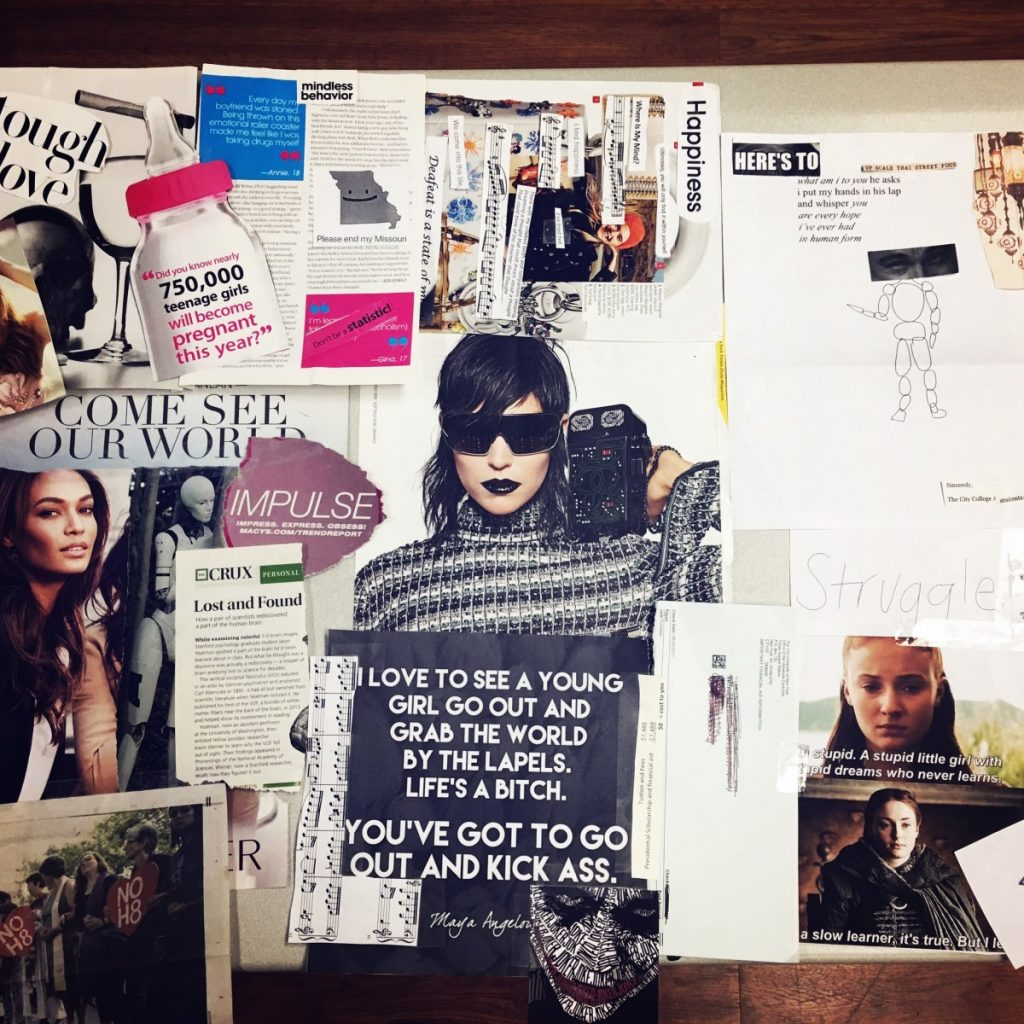 Student collage of magazine and printed images that focus on the theme of self and other, including an image of Sansa Stark, a makeup ad, and empowering text from glossy publications