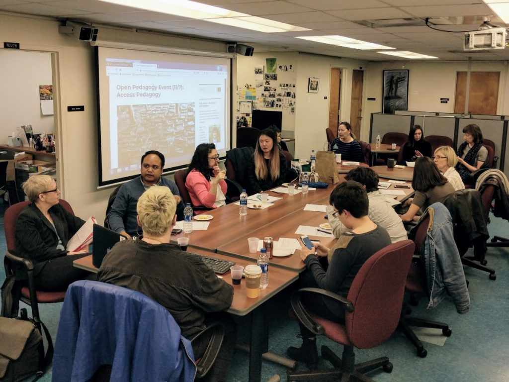 Participants at the 11/7 Open Pedagogy event on Access Pedagogy, gathered around for a roundtable discussion.