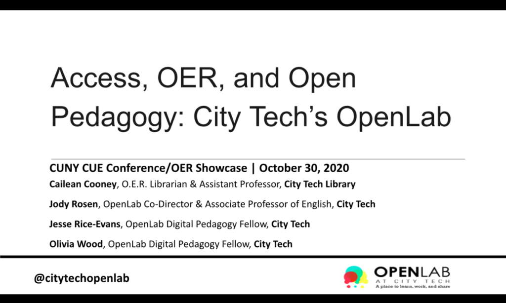 Title slide of Access, OER, and Open Pedagogy on the OpenLab presentation