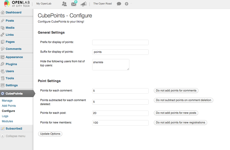 CubePoints configuration screenshot