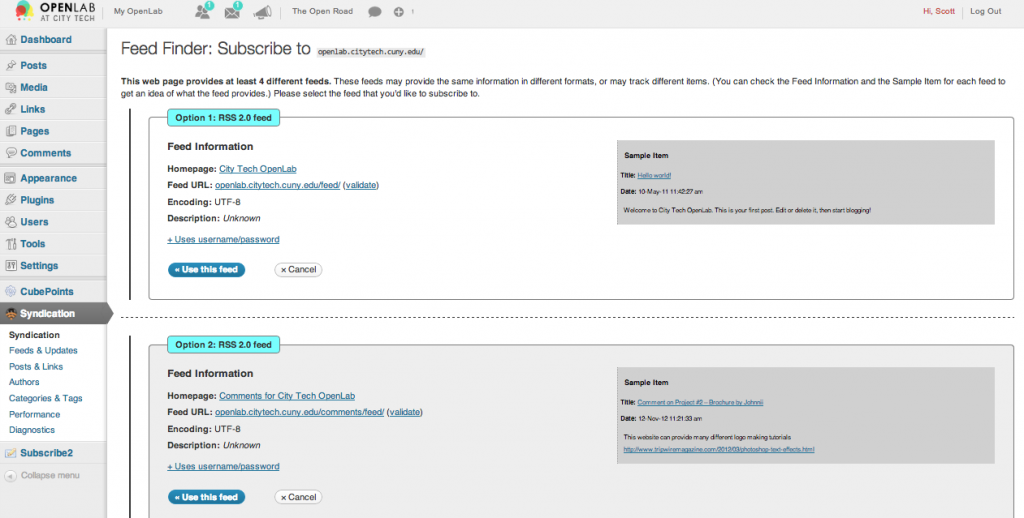 feed wordpress screenshot 2