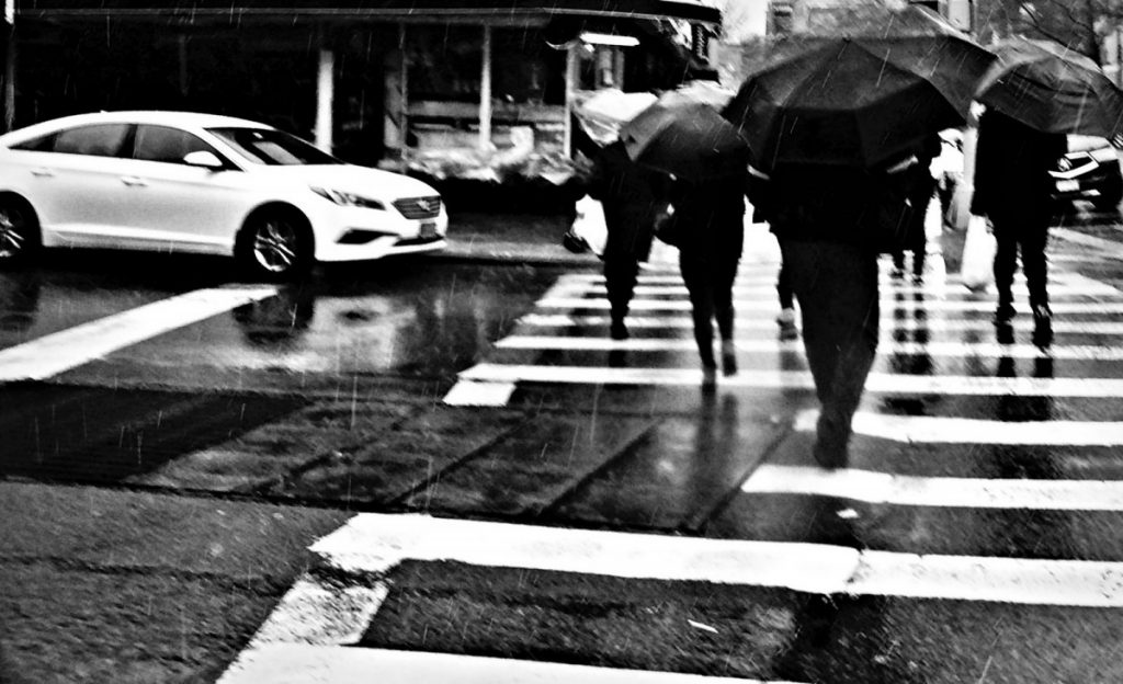 Rainy day in the city, people crossing the street with umbrellas.