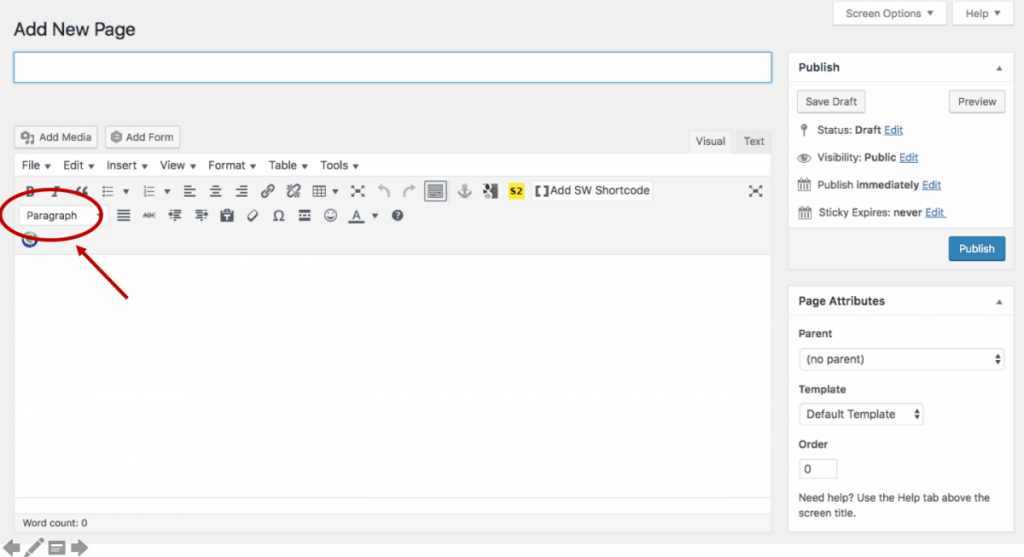 A screenshot of the Page editor indicating where users can create headings.