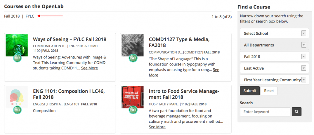 course type heading on results page