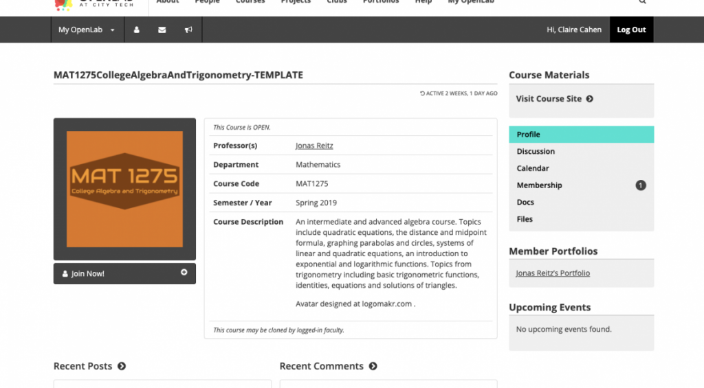Mat1275 course profile page, including a brief description of the course.