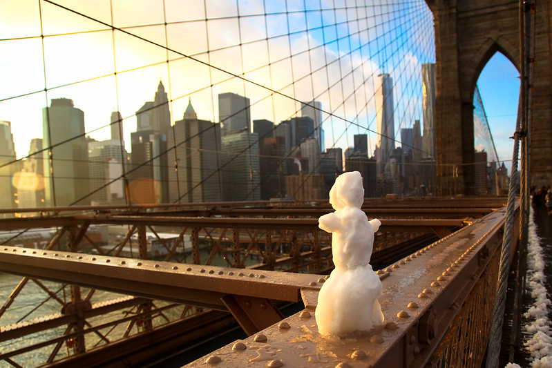Snowman on the Brooklyn Bridge