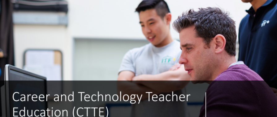 Header image for CTTE Connect Days Site, three students looking at a computer in a City Tech Classroom.