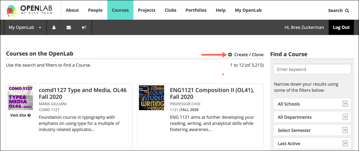 New link on course directory page to create or clone a course.