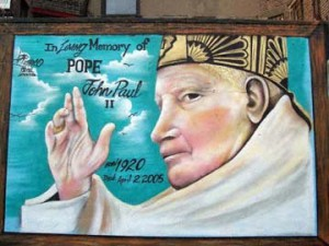 Pope John Paul II. A prominent figure within the Catholic community of the Lower East Side. I'm not a religious person in my own right, however, I respect the Catholic community of the Lower East Side. This mural was located on 10th Street off of Avenue D.