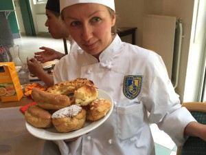 Miss Olga presenting our pastries.