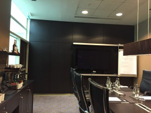 This is an example of a small conference room. The hotel also offers refreshments or meals depending on the client's needs.