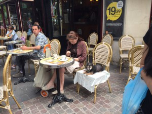 A women enjoying outdoor seating with her dog, who is seated comfortably on a blanket next to her.