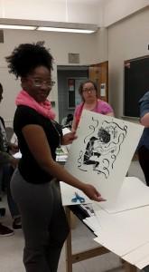 Amoni B and her print