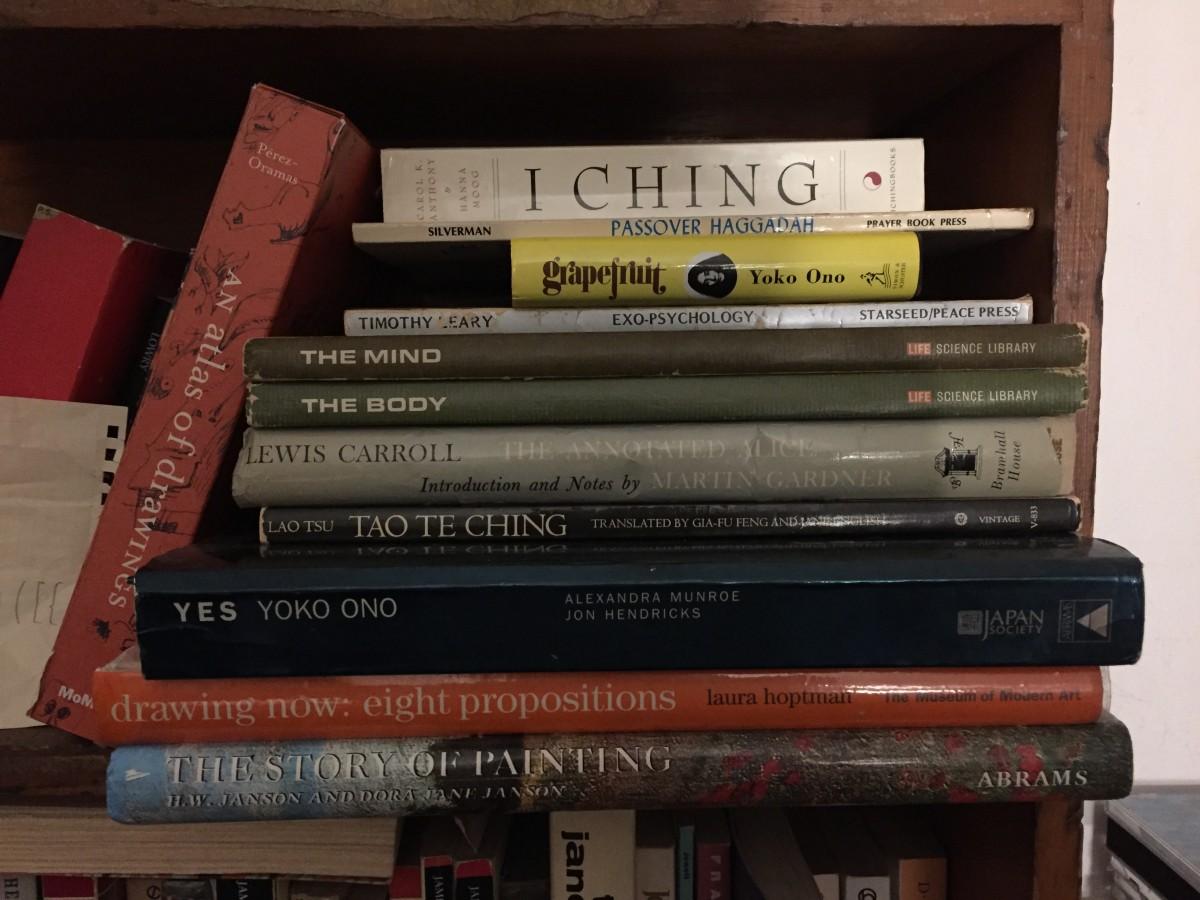 One of my bookshelf stacks