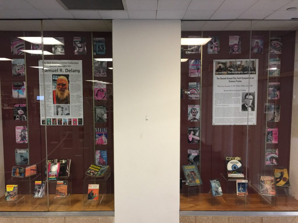 Library exhibits on Samuel R. Delany and the 2nd Annual City Tech Science Fiction Symposium.