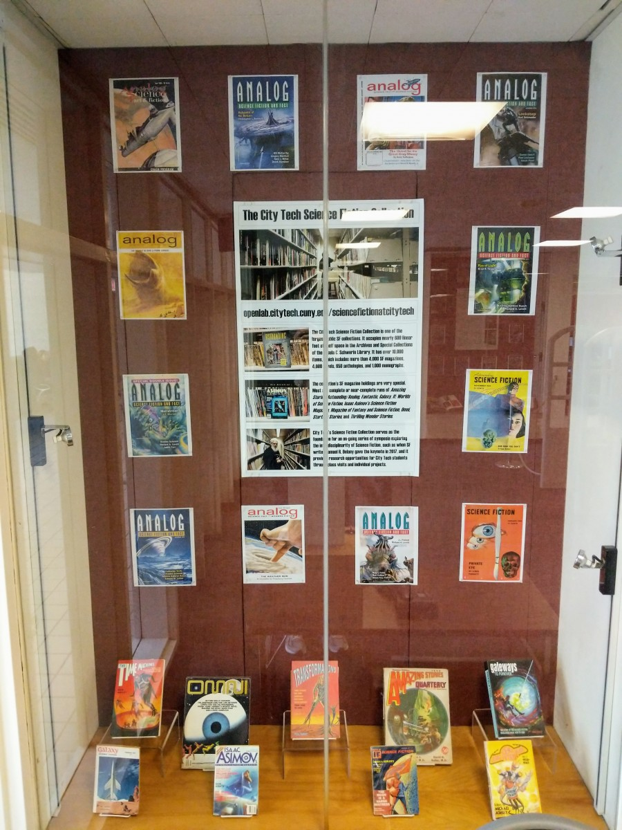 Display case highlighting the City Tech Science Fiction Collection.