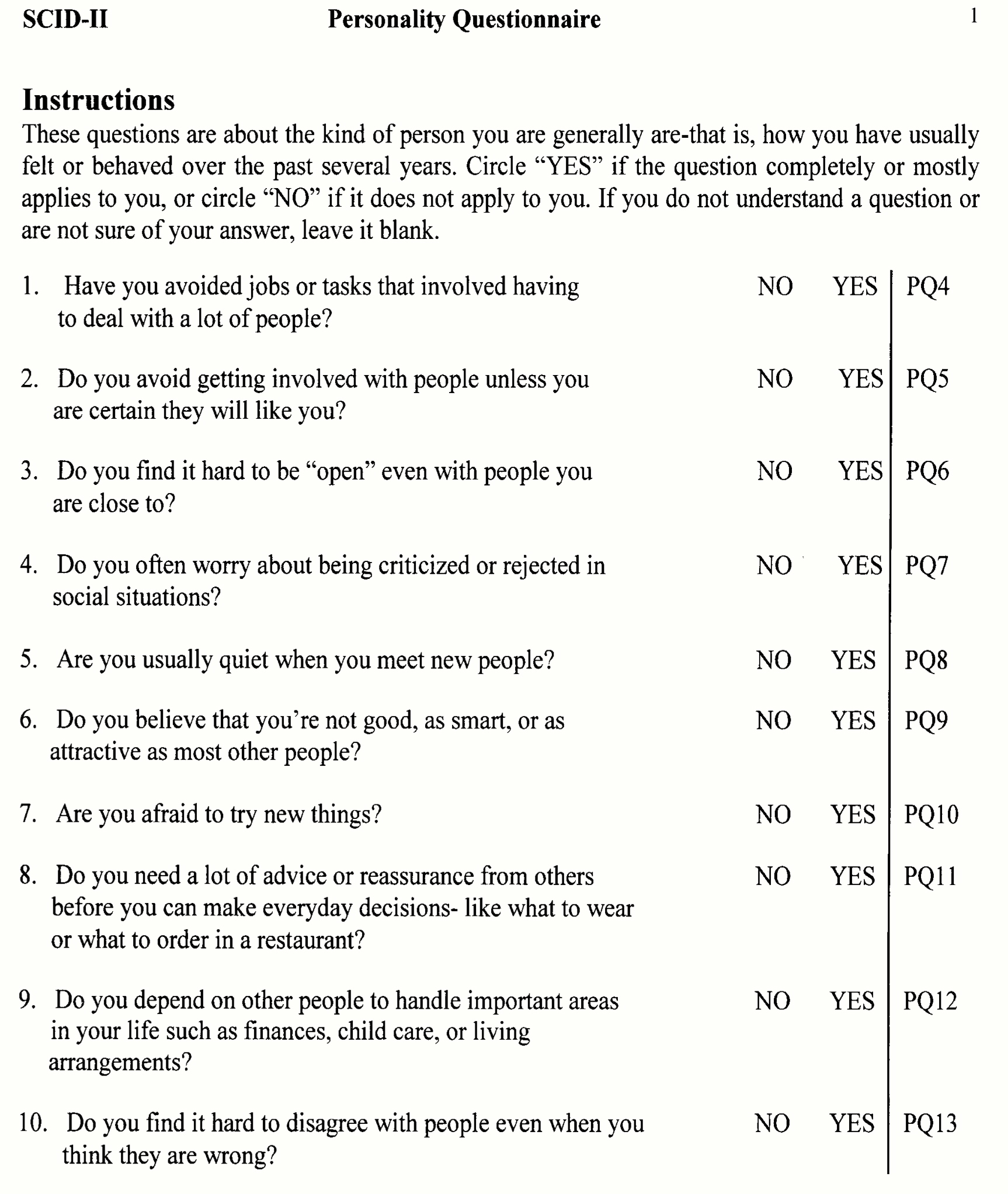 This is a picture of Sweet Printable Personality Test for Students