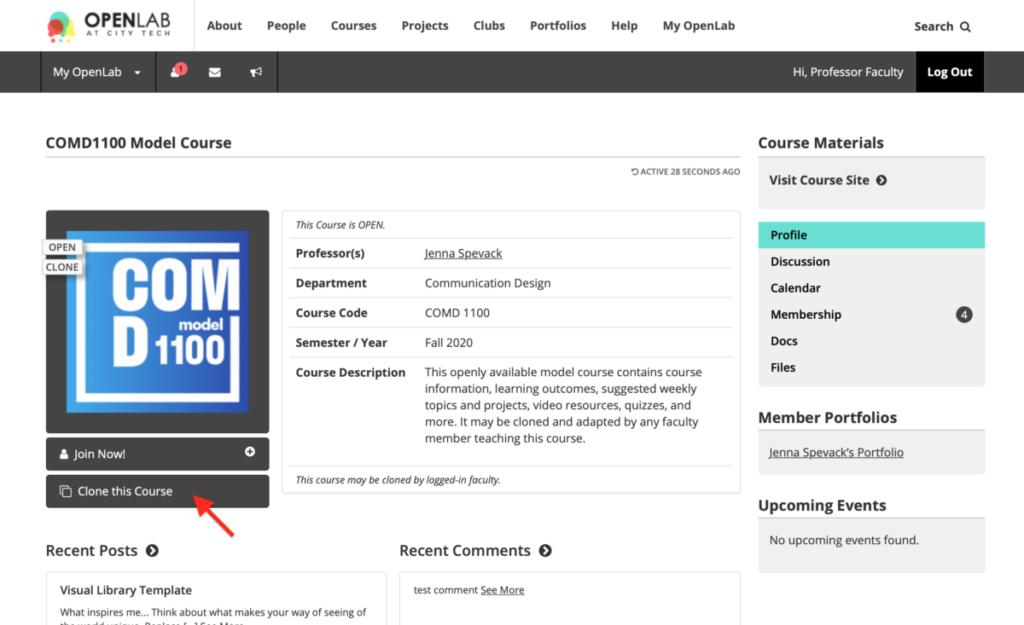 Screenshot of Model Course