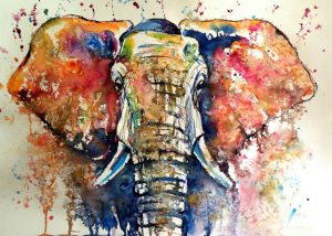 Elephant; Watercolor on paper by Kovacs Anna Brigitta