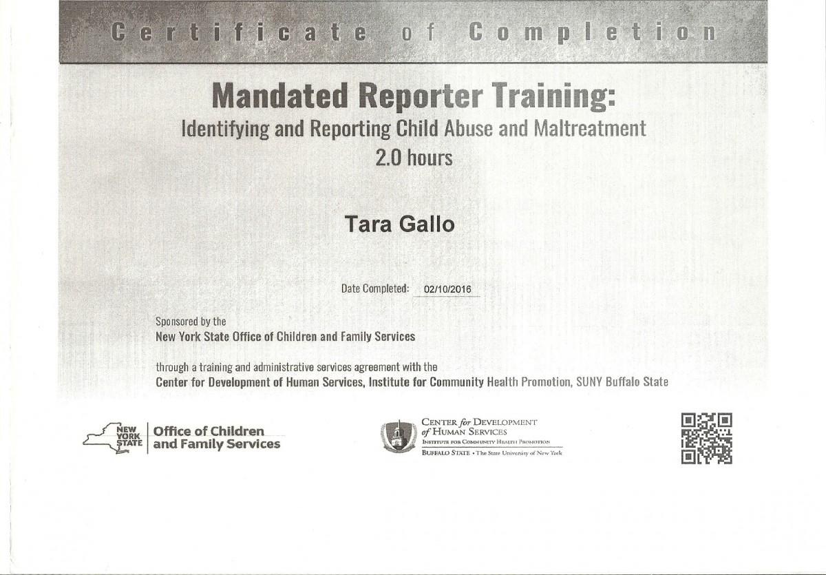 Licenses And Certifications Tara Gallos Eportfolio