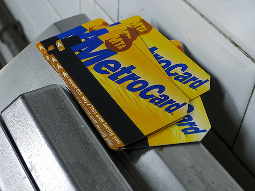 a stack of MetroCards