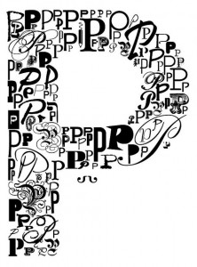a letter P made out of letter Ps