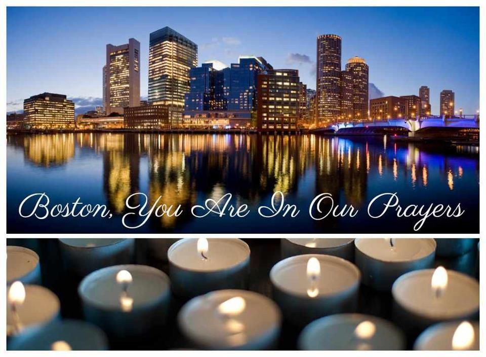"a city skyline with the words ""Boston, you are in our prayers"""