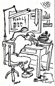 a cartoon of a man collapsed at a desk