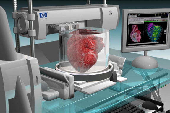 a computer rendering of a heart being printed