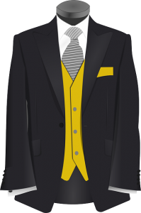 an illustration of a suit jacket and tie