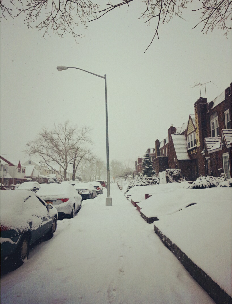 a snowy block
