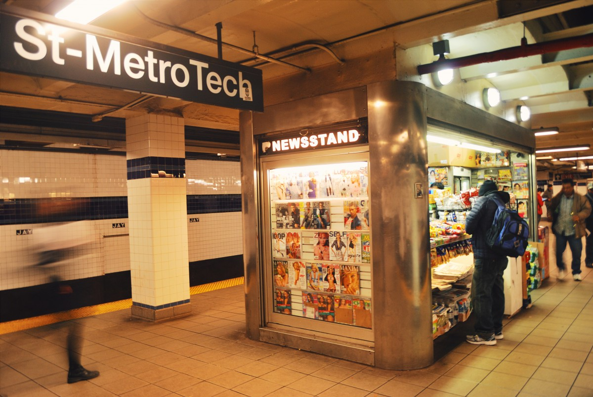 a newsstand inside the Metro Tech subway station